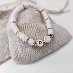 Bracelet ROSE PÂLE perles Heishi personnalisé