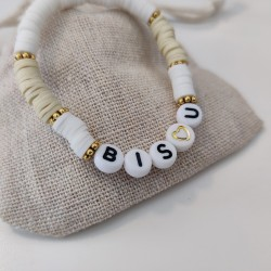 Bracelet BLANC ET BEIGE perles Heishi...