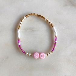 Bracelet ROSE BLANC OR perles de rocailles...