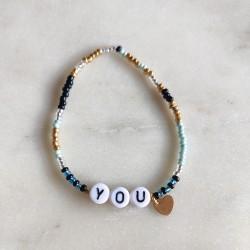 Bracelet BLEU NOIR OR perles de rocailles...