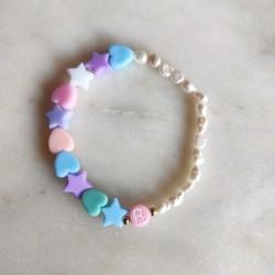 Bracelet PASTEL acidulé et perles d'eau...