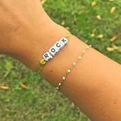 Bracelet ROCK - Ruban Organza doré