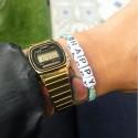 Bracelet HAPPY - Ruban liberty blet et vert d'eau