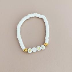 Bracelet BLANC perles Heishi personnalisé