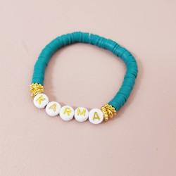 Bracelet BLEU PETROLE perles Heishi...
