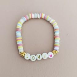 Bracelet MULTICOLOR PASTEL perles Heishi...