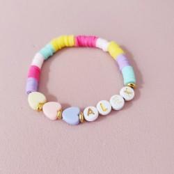 Bracelet MULTICOLOR PASTEL COEUR perles...