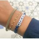 Bracelet HAPPY - Ruban liberty bleu et vert d'eau