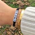 Bracelet AMOUR - Ruban noir élastique