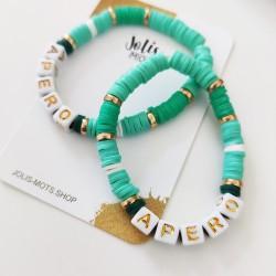 Bracelet VERT D'EAU perles Heishi personnalisé