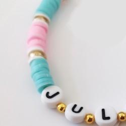 Bracelet BABY ROSE ET BLEU perles Heishi personnalisé