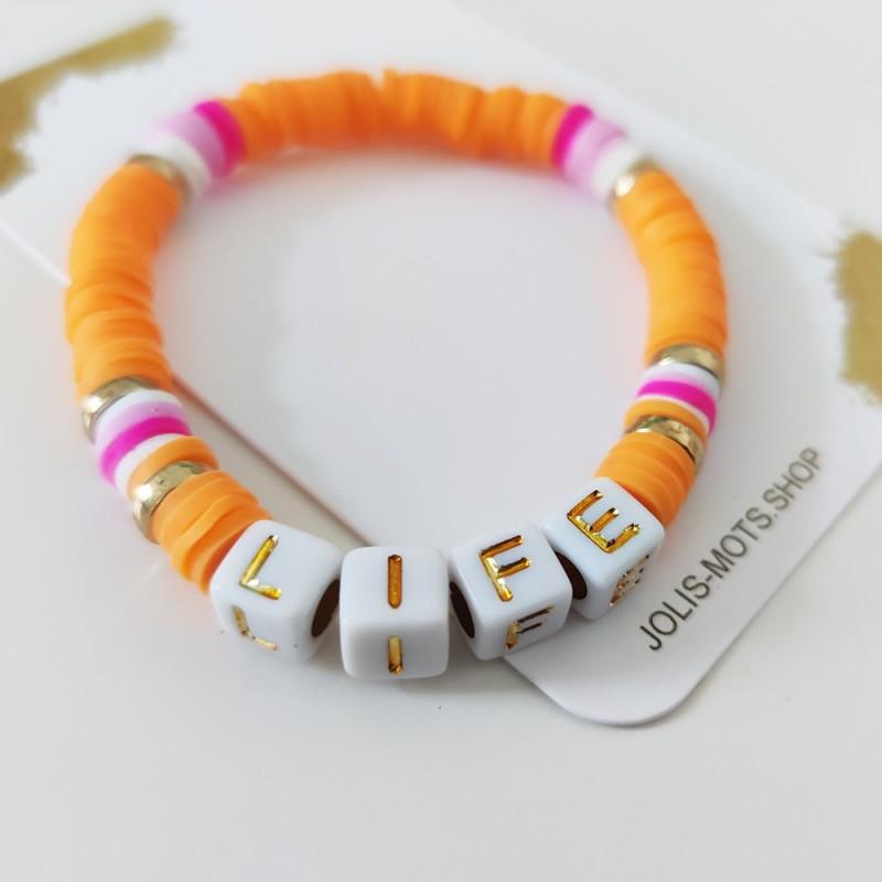 "Bracelet ""FLUO"" ORANGE ET ROSE perles Heishi personnalisé"
