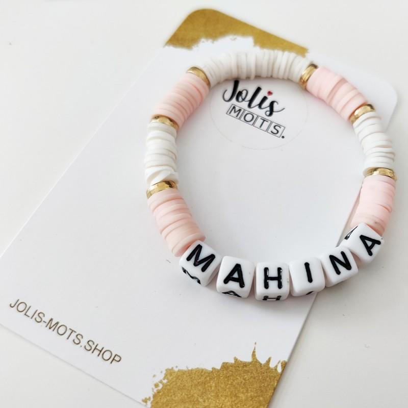 Bracelet BLANC ET ROSE perles Heishi personnalisé